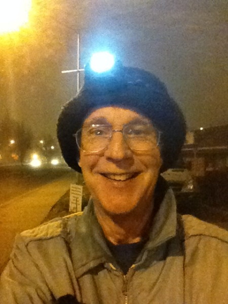 Foggy night; bought the light at Hirons, behind me to my right.  Think it was $7.95.  They should charge more.