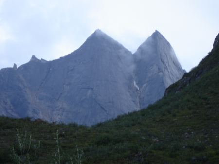 "Arrigetch Peaks, Alaska.  Gates of the Arctic National Park.  The two are called ""The Maidens""(1700 M), the one in the distant shot is ""Elephant's tooth""  (1100 M)"
