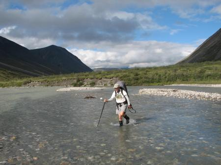 "Fording the Noatak, August 8, 2010. Age 61.  My guide said that day, ""I hope I can do this when I am 61.""  He was 51."