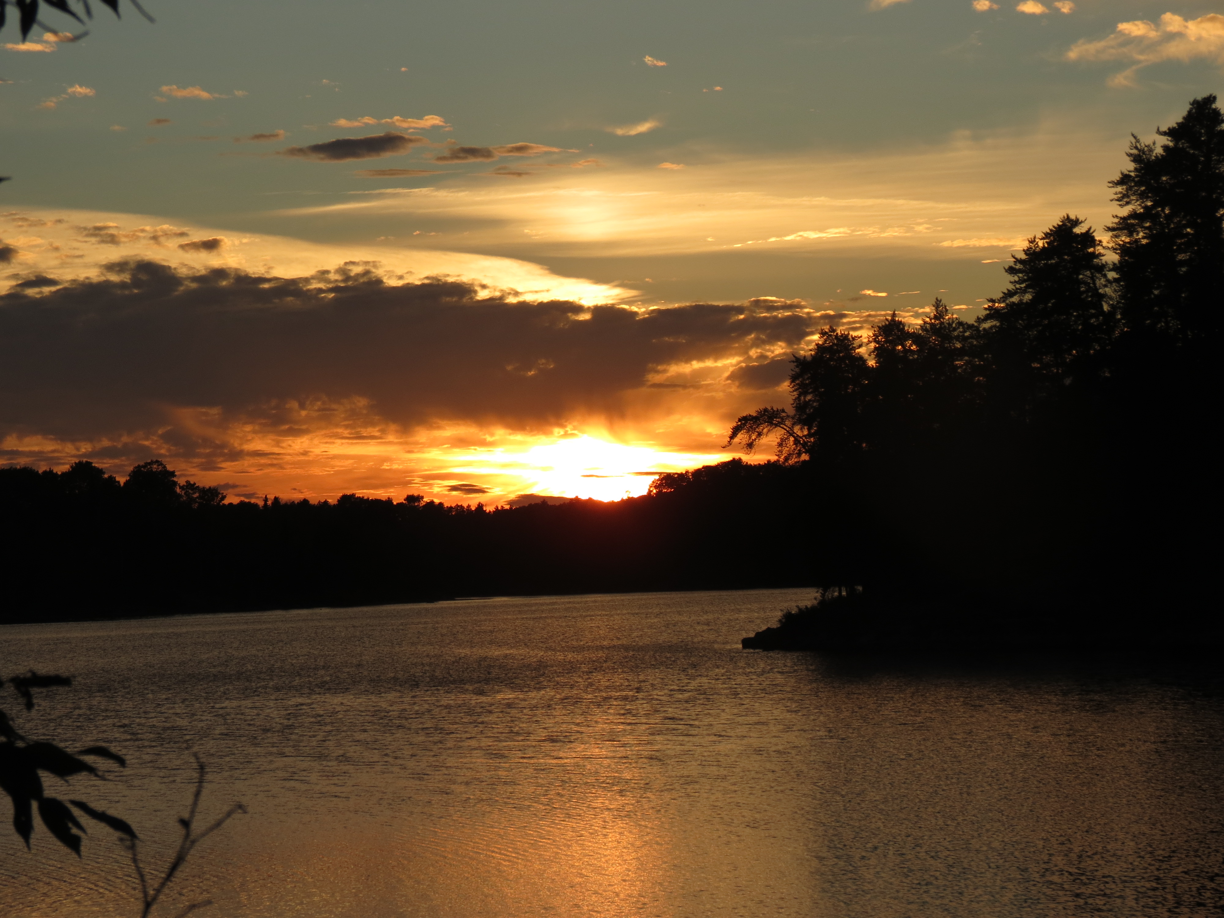 Sunset on my bay campsite, September 2013, solo.  Age 64.