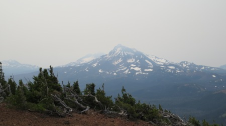 View from atop Black Crater. Smoke from wildfires.